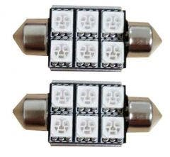 6 SMD C5W Rood 24v Canbus LED