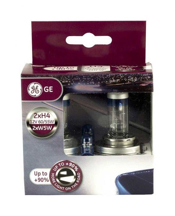 GE Halogeen Megalight Ultra +90 met set W5W Blue - H4 set